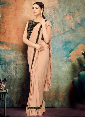 Cream Lycra Designer Bollywood Saree