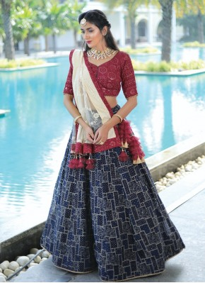 Cream, Navy Blue and Red Chiffon Readymade Lehenga Choli for Party