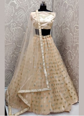 Cream Net Embroidered Trendy A Line Lehenga Choli