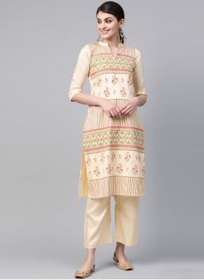 Cream Print Poly Silk Party Wear Kurti