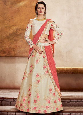 Cream Silk Designer Woven Lehenga Saree with Contrast Floral Motifs