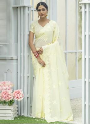 Cream Silk Embroidered Designer Traditional Saree
