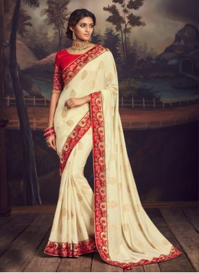 Cream Silk Patch Border Traditional Saree