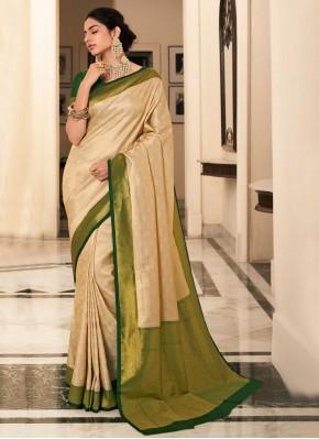 Cream Silk Reception Bollywood Saree