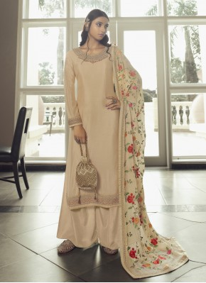 Cream Stone Mehndi Designer Pakistani Salwar Suit