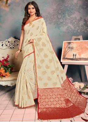 Cream Weaving Designer Saree