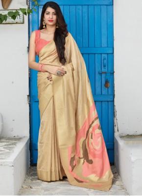 Cream Weaving Festival Designer Saree