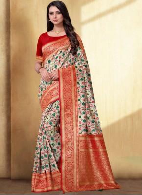 Cream Weaving Silk Classic Designer Saree