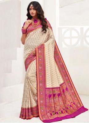 Cream Weaving Trendy Saree