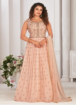 Creative Designer Gown Mirror Work in Chiffon Satin