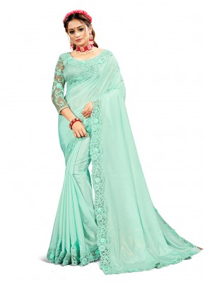 Crepe Silk Blue Designer Saree