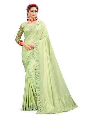 Crepe Silk Designer Saree in Green