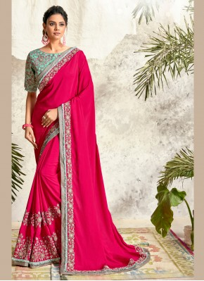 Crepe Silk Embroidered Traditional Saree in Hot Pink