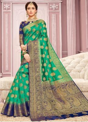 Crepe Silk Green Contemporary Saree