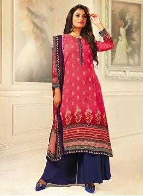 Crepe Silk Printed Designer Palazzo Salwar Suit in Pink
