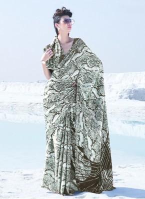 Crepe Silk Printed Trendy Saree in Multi Colour
