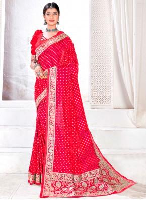 Crimson Jacquard Silk Fancy Traditional Designer Saree