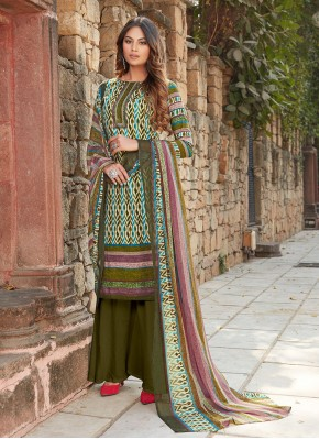 Customary Cotton Green Palazzo Designer Salwar Kameez