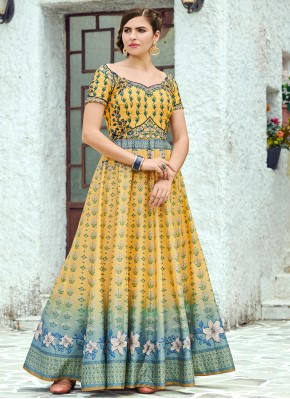 Customary Digital Print Multi Colour Silk Designer Gown