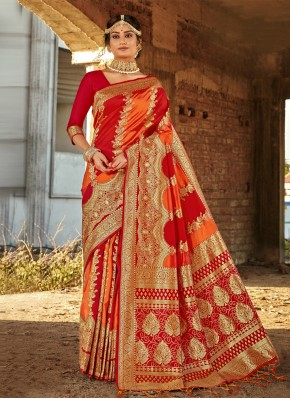 Customary Orange and Red Ceremonial Traditional Saree