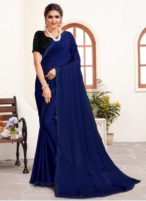 Customary Stone Work Satin Navy Blue Trendy Saree