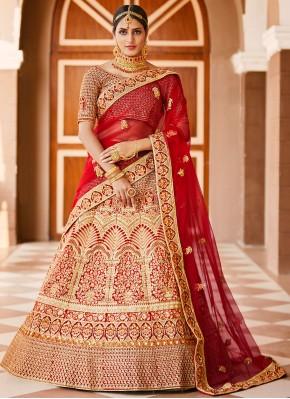 Customary Velvet Resham Red A Line Lehenga Choli