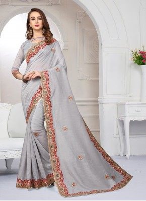 Cute Embroidered Art Silk Grey Traditional Designer Saree