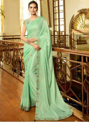 Cute Green Festival Designer Saree