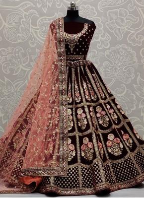 Cute Maroon Thread Velvet Lehenga Choli