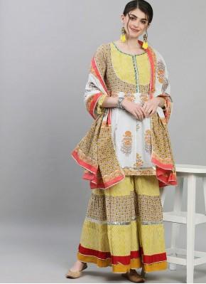 Cute Mustard Print Cotton Readymade Suit