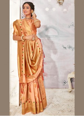 Cute Weaving Peach Banarasi Silk Designer Traditional Saree