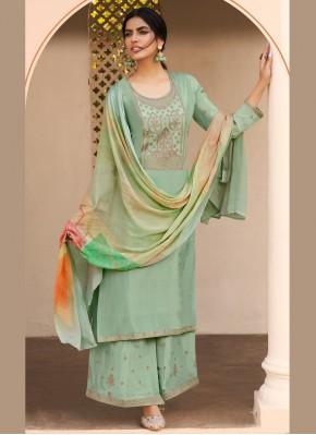 Dainty Embroidered Sea Green Designer Pakistani Salwar Suit