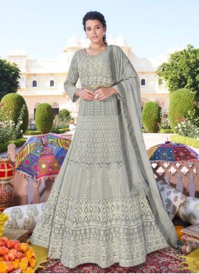 Dainty Faux Georgette Embroidered Grey Readymade Anarkali Suit