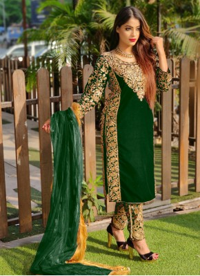 Dainty Green Embroidered Velvet Pant Style Suit