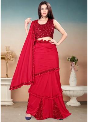 Dainty Sequins Red Lycra Trendy Saree