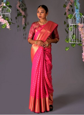 Dainty Weaving Pink Traditional Saree