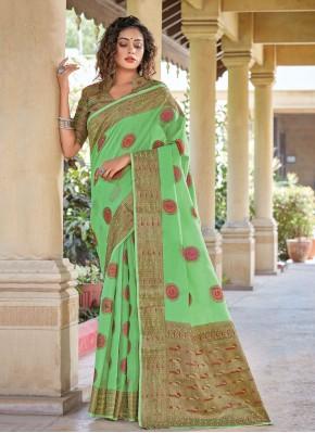 Dainty Woven Green Classic Saree