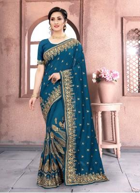 Dashing Blue Traditional Designer Saree