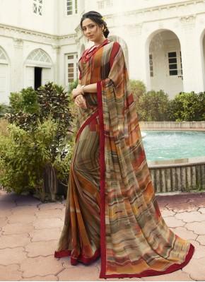 Dashing Brown Printed Designer Saree