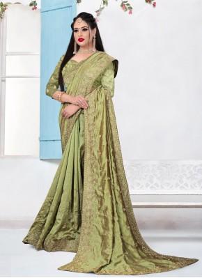 Dashing Embroidered Green Silk Bollywood Saree