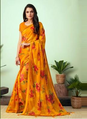 Dashing Faux Chiffon Multi Colour Floral Print Casual Saree