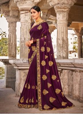 Dashing Purple Vichitra Silk Traditional Designer Saree