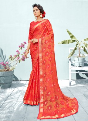 Dashing Red Fancy Classic Designer Saree