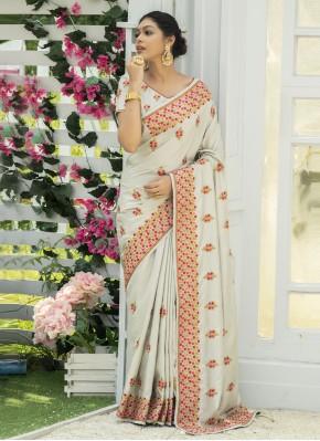Dashing Silk Off White Embroidered Traditional Designer Saree