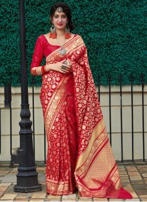 Dashing Weaving Red Silk Classic Saree