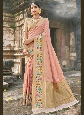 Dazzling Banarasi Silk Fancy Pink Traditional Designer Saree