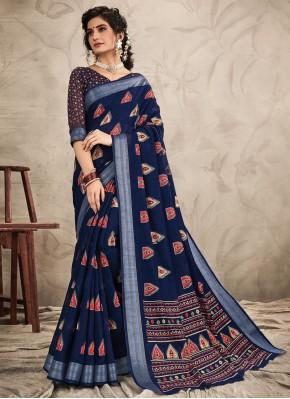 Dazzling Chanderi Navy Blue Resham Classic Saree