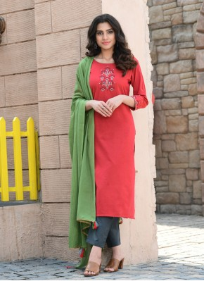 Dazzling Embroidered Red Cotton Readymade Suit