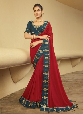 Dazzling Embroidered Red Silk Traditional Saree