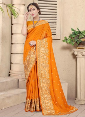 Dazzling Mustard Embroidered Designer Traditional Saree